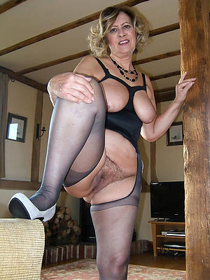 Mature woman in nylon