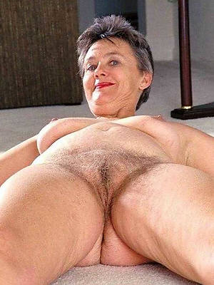 older adult woman stripped