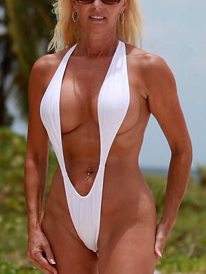 crestfallen of age wife bikini posing