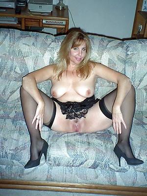 mature stocking feet posing