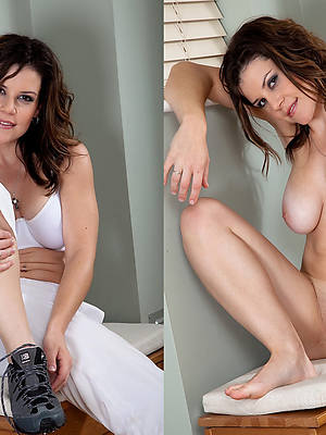 mature woman dressed and undressed