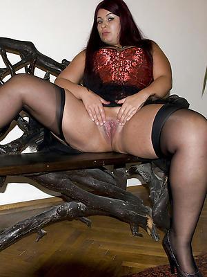 mature stockings hairy posing nude