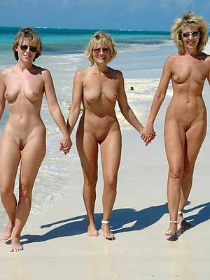 well done low-spirited mature women at beach nude colonnade