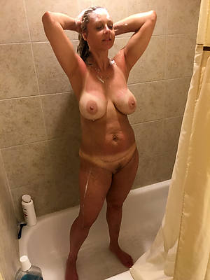 horny mature column in rub-down the shower pics